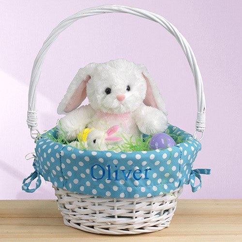 Personalized embroidered wicker easter basket with polka dot liner personalized embroidered wicker easter basket with polka dot liner negle Images