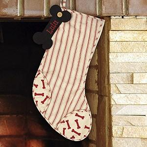 Personalized Embroidered Striped Dog Bone Stocking