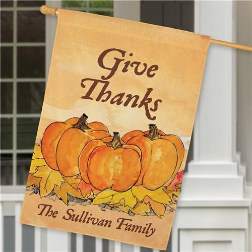 Personalized Halloween & Fall House Flags - Give Thanks