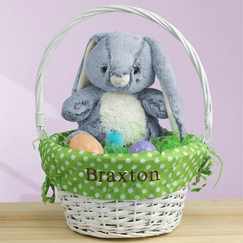 Personalized Embroidered Wicker Easter Basket with Polka Dot Liner