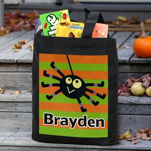 Personalized Halloween Trick Or Treat Tote Bag for Kids - Black - Boy Spider
