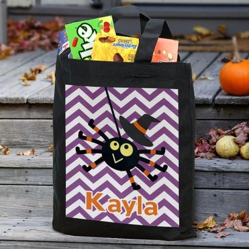 Personalized Halloween Trick Or Treat Tote Bag for Kids - Black - Girl Spider
