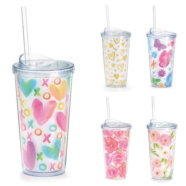 Love & Floral Inspirations Acrylic Travel Cups