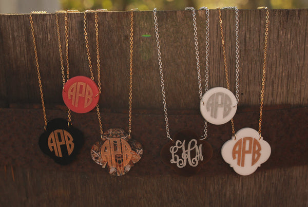 Personalized Monogram Necklace Engraved