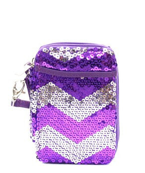Chevron Sequin Wristlet Wallet