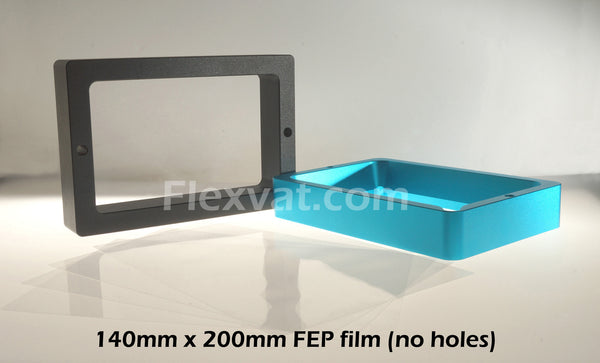 Replacement FEP film for Wanhao D7, Anycubic Photon and other 3d printers that use 140mm X 200mm FEP replacement films. Available with or without laser cut mounting holes.