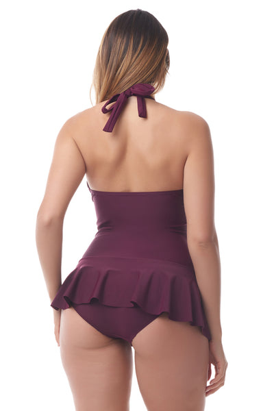 Sea & Sand Beachwear | Wine Halter Skirted Swim Dress | Women's Swimwear