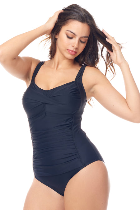 Black Drape Surplice One Piece