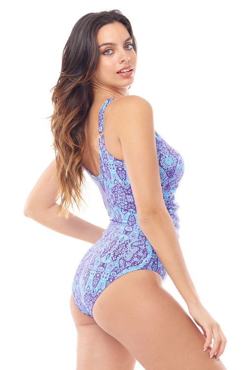 Violet Paisley Shirred One Piece