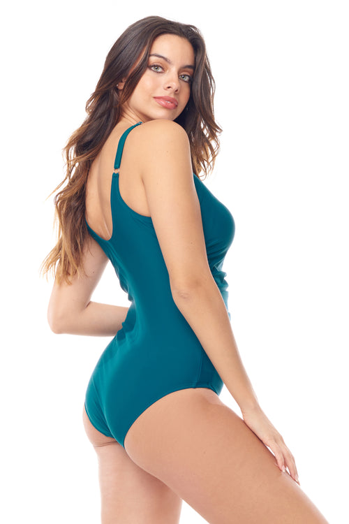 Teal Shirred One Piece