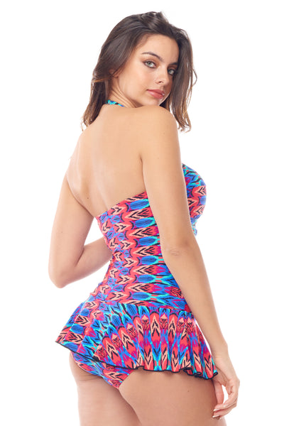 Blue & Pink Twist Front Swimdress
