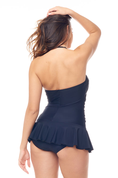 Black Halter Twist Front Swimdress