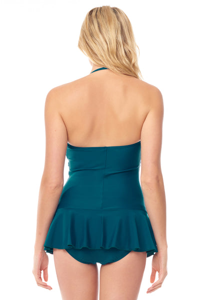 Teal Halter Twist Front Swimdress
