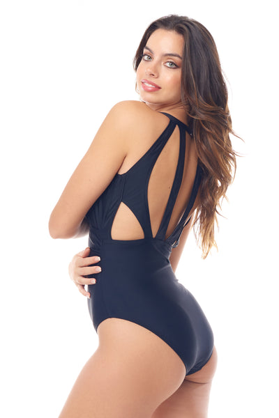 Black Surplice One Piece