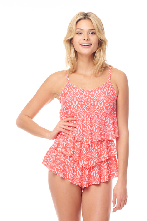 Coral Beachy Tiered One Piece