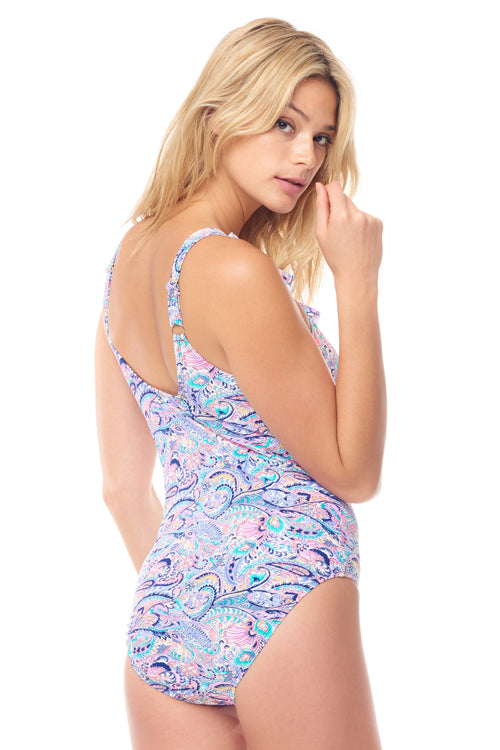 Pastel Paisley Ruffle Deep V One Piece