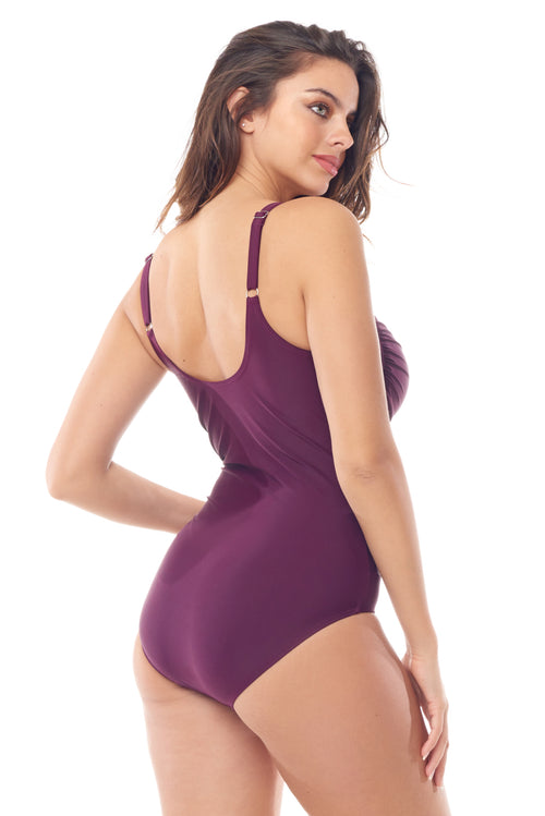 Wine Zip-Front One Piece