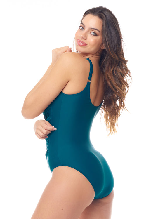 Teal Zip-Front One Piece