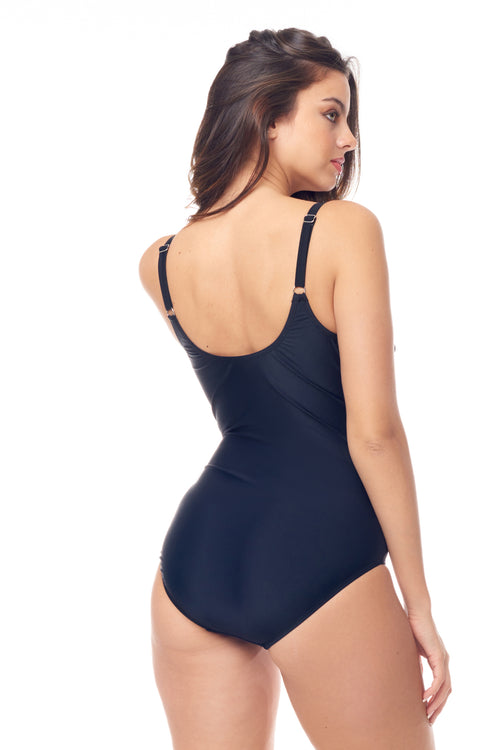 Black Zip-Front One Piece
