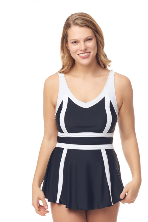 Black & White Stripe Empire Swimdress