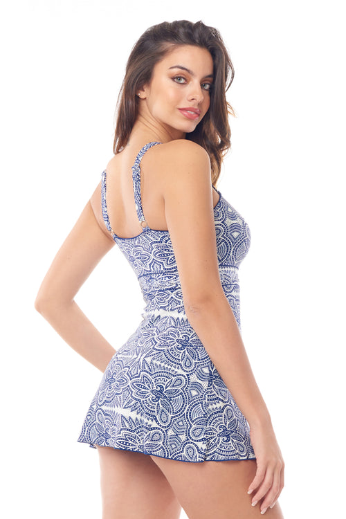 Navy & White Mosaic Empire Swimdress