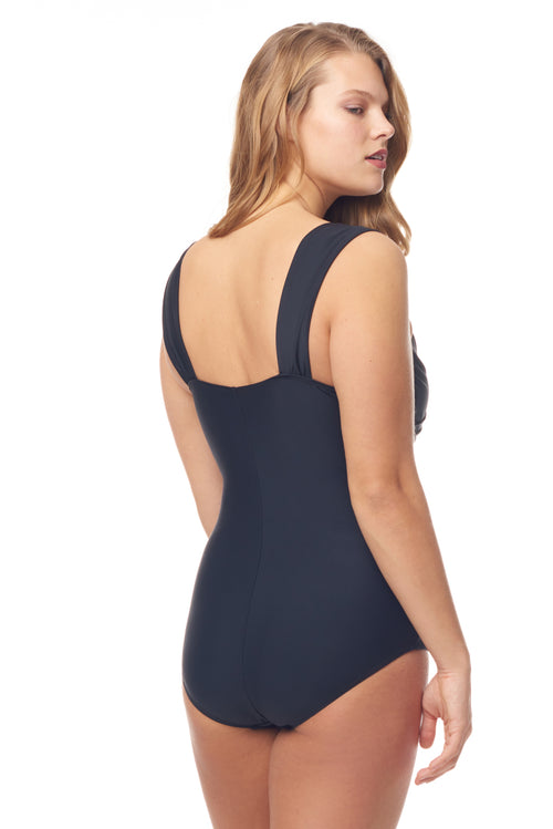 Black & Gold Shoulder Strap One Piece