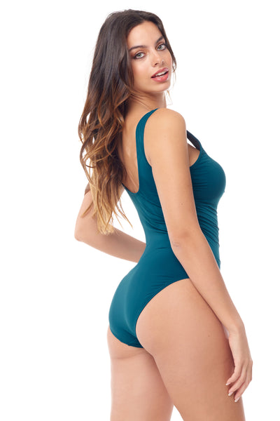 Teal Pleated One Piece