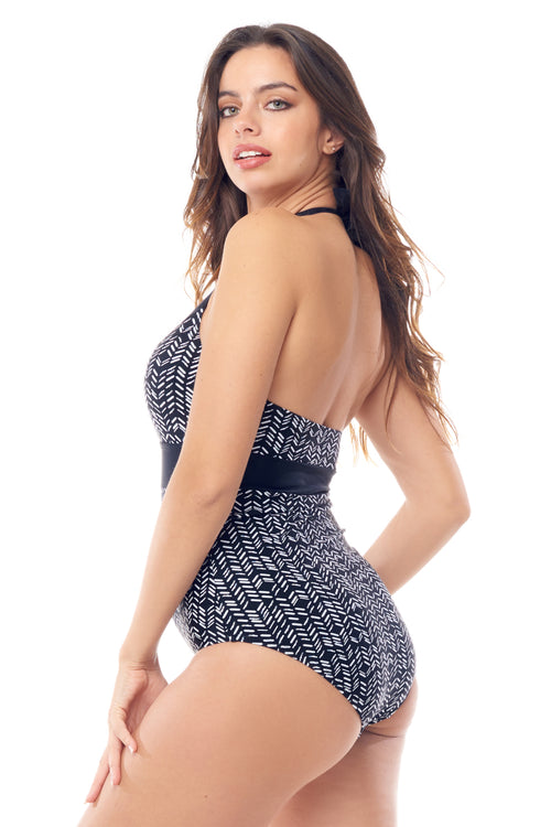 Black & White Halter V-Neck One Piece