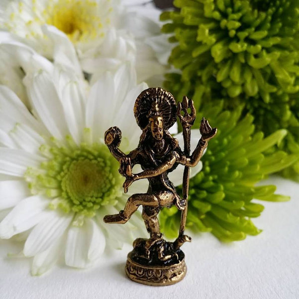 Shiva Dancing Mini Brass Statue