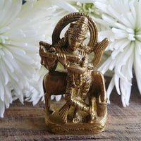 Krishna with Sacred Cow Statue