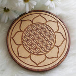 Lotus + Flower of Life Wood Crystal Grid