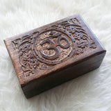 OM Wood Box, Hand Carved