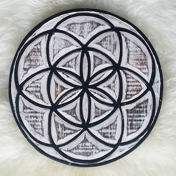 Seed of Life, Rustic Wood Crystal Grid