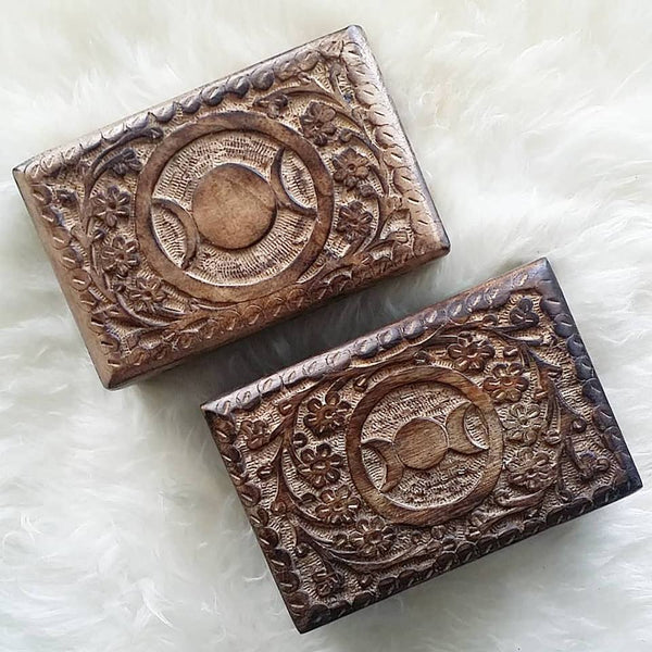 Triple Goddess Moon Phase Wood Box, Hand Carved