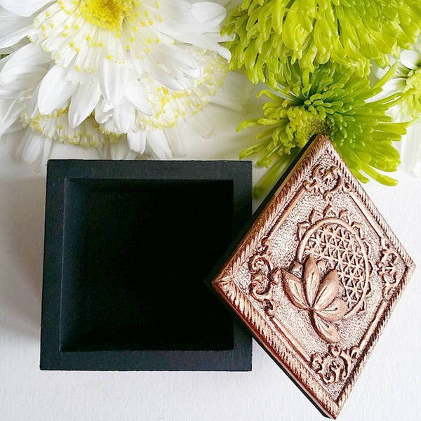 Flower of Life Box with Metal Bronze Lid