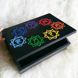 Chakra Wood Box, Hand Carved