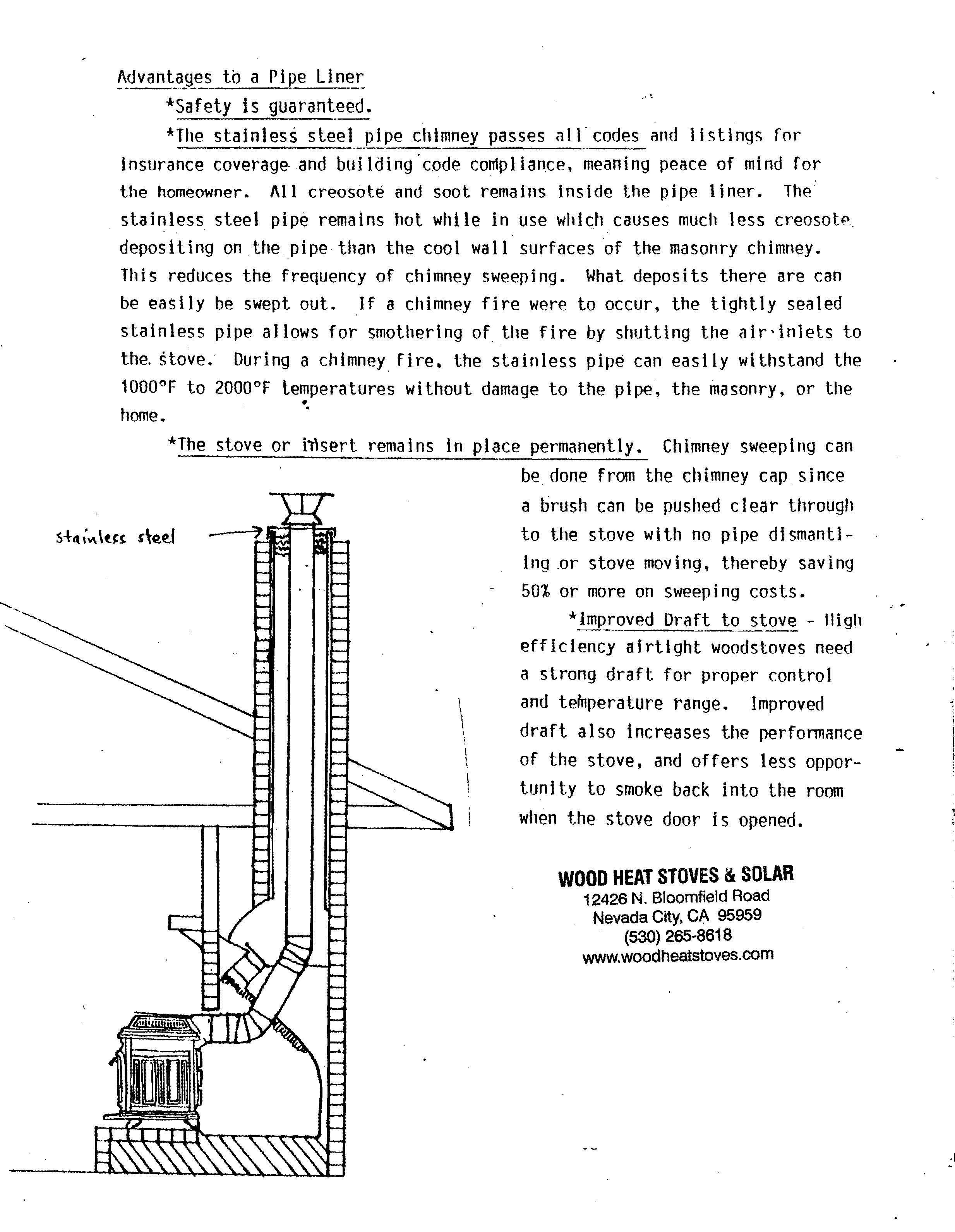 Wood Stove Chimney Liner information for installations to existing ...