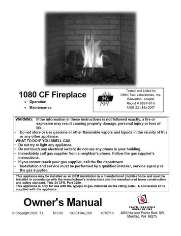 Travis 1080 CF Insert User Manual - Gas_1080CF
