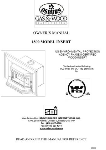 Osburn 1800 Insert User Manual - Wood_OS1800ins