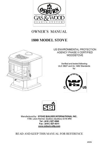 Osburn 1800 User Manual - Wood_OS1800