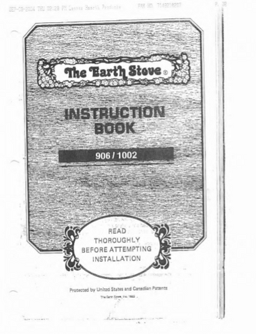 Earth Stove 906-1002 Users Manual - Wood_es906-1002