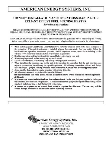 American Energy Essex User Manual - Pellet_AEessex