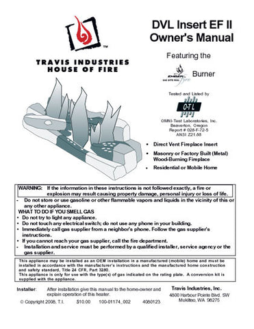 Avalon EF-II DVL User Manual - Gas_AVDVL