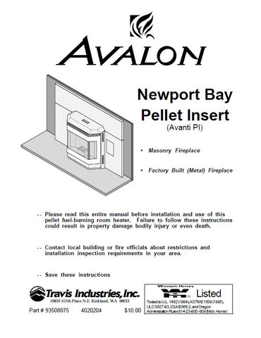 Avalon Newport Bay/Avanti PI Insert User Manual - Pellet_AVNewportBay, AvantiPI