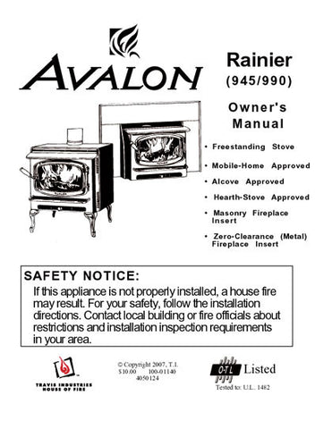 Avalon Rainier 945-990 User Manual - Wood_AVrainier945990