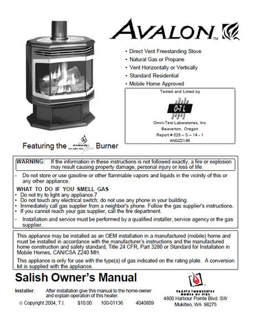 Avalon Salish EF-III DV User Manual - Gas_EFIII