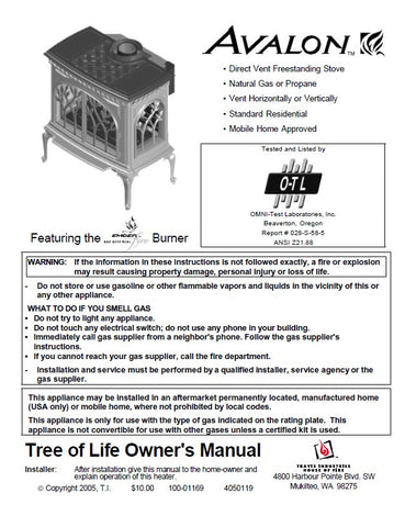 Avalon Tree of Life User Manual - Gas_AvalonTreeofLifeStove