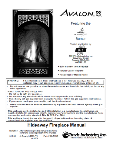 Avalon Hideaway 2005 User Manual - Gas_AvalonHideaway2005