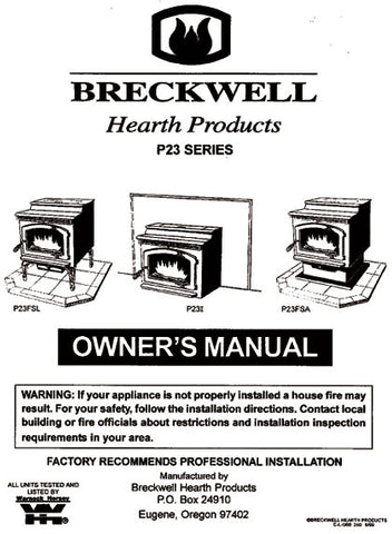 Breckwell P23 1999 User Manual - Pellet_bp23p1999