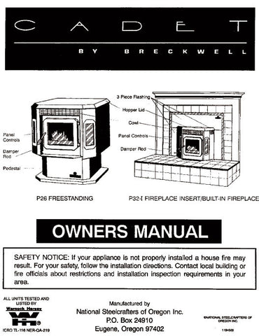 Breckwell P26/P32 1995 User Manual - Pellet_bp26p3295